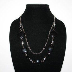 "36"" long silver and black beaded necklace"